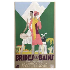 Original Vintage French Art Deco Brides Poster 'Les Bains' by Leon Benigni 1929