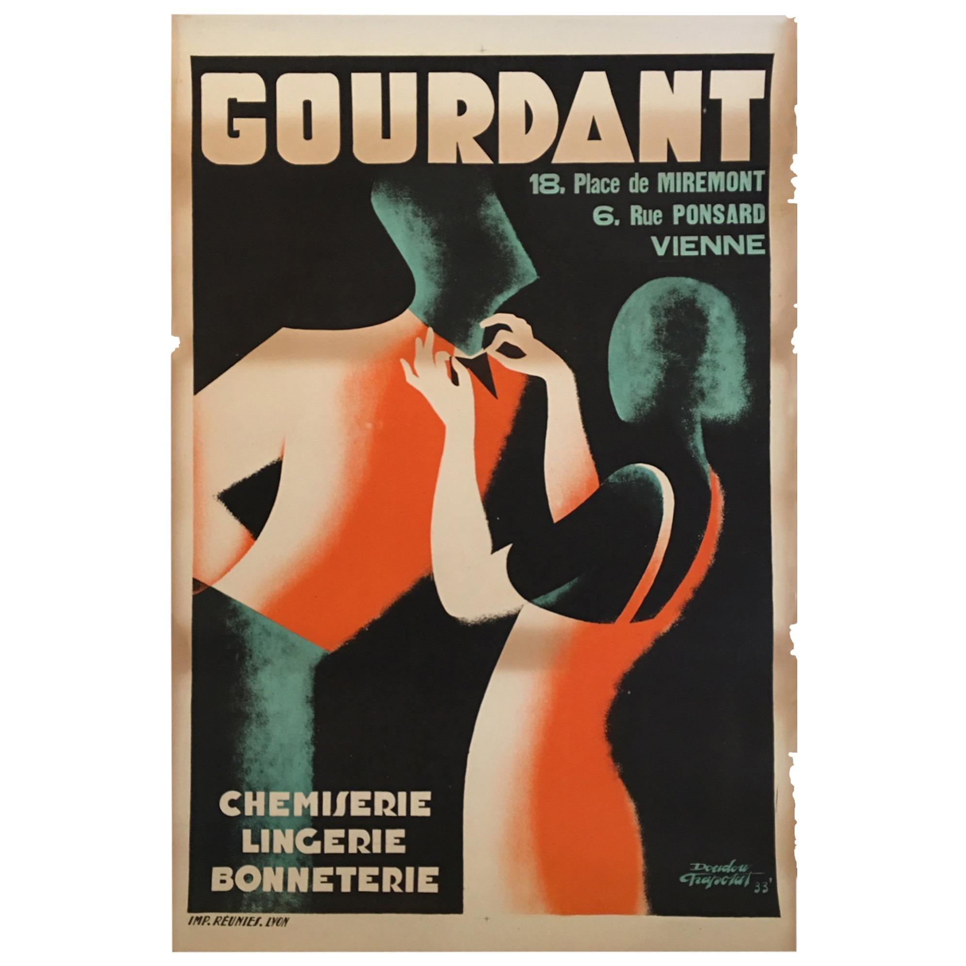 Original Vintage French Art Deco Poster, 'Gourdant' by D Frapojut, Paris, 1933