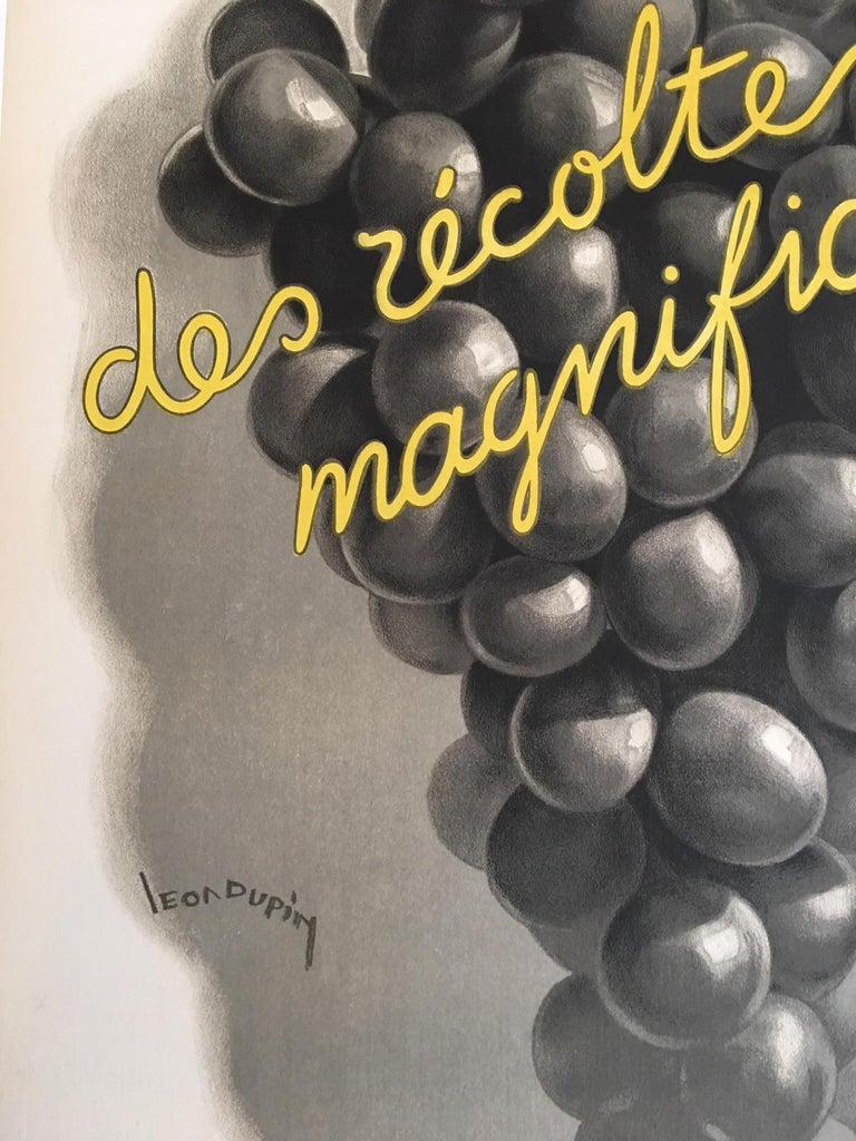 Original Vintage French Art Deco Wine Poster, Soufre Gre, 1933 by Leon Dupin In Excellent Condition In Melbourne, Victoria