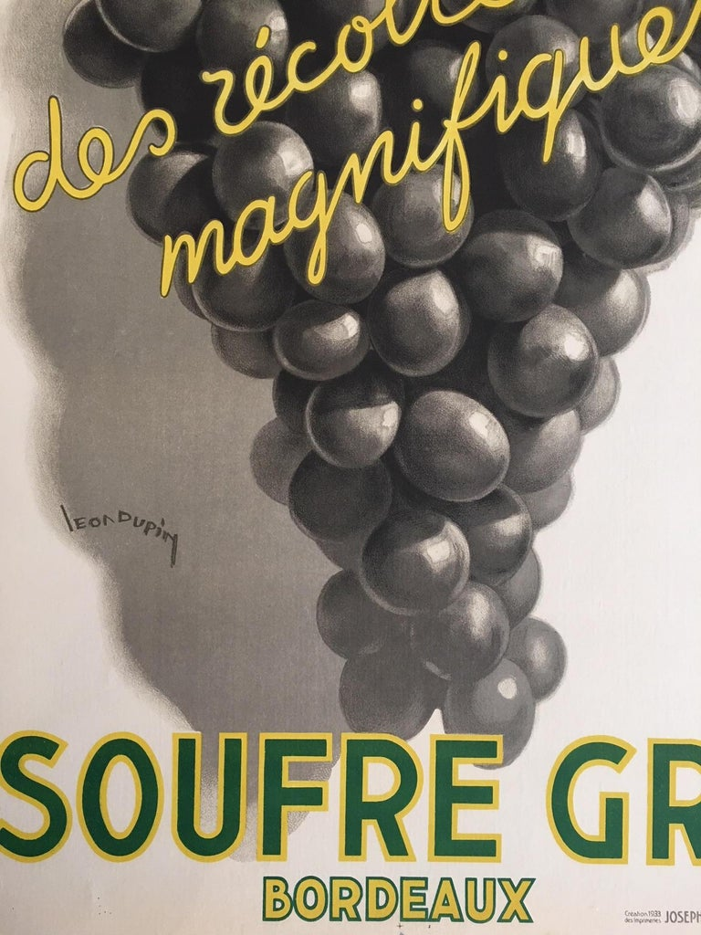 Original Vintage French Art Deco Wine Poster, Soufre Gre, 1933 by Leon Dupin 3