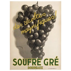 Original Vintage French Art Deco Wine Poster, Soufre Gre, 1933 by Leon Dupin