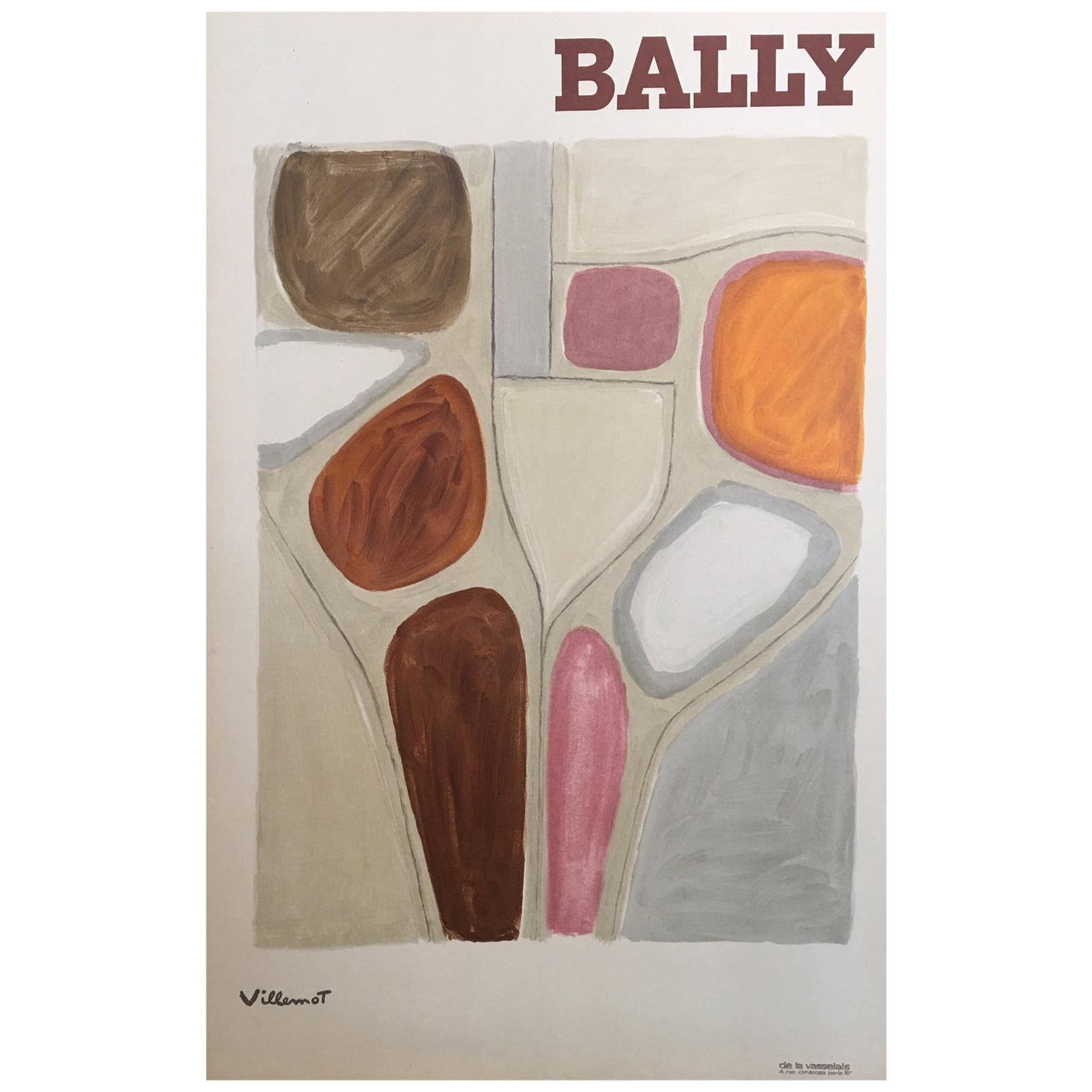 Original Vintage French Bally Abstract' Shoe Poster, by Bernard Villemot, 1971