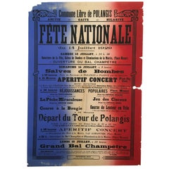 Original Vintage French Bastille Day Lithograph Poster, 'Fete Nationale', 1930