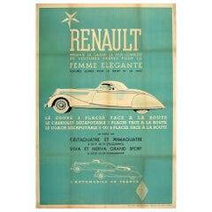 Original Vintage French Car Poster Renault Femme Elegante Coupe Cabriolet Coach