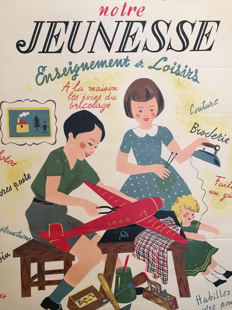Original vintage French children's Art Deco poster, 'Exposition Notre', 1935