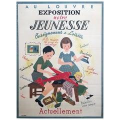 Original Vintage French Children's Art Deco Poster, 'Exposition Notre', 1935