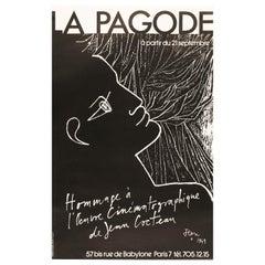 Original Vintage French Cinema Poster after Jean Cocteau at La Pagode, 1970s