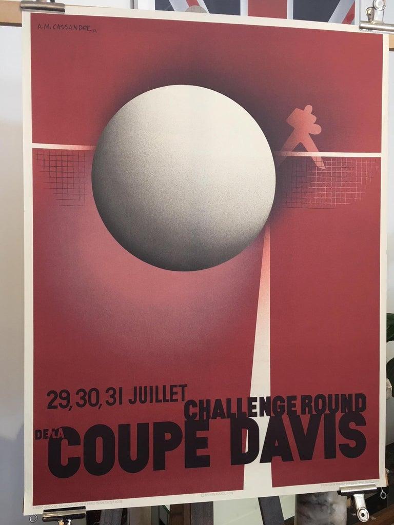 Art Deco Original Vintage French Coupe Tennis Davis Cup by Cassandre A. M, 1980 For Sale