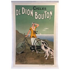 "Original Vintage French Cycle Bike Poster ""De Dion Bouton,"" 1925 Art Deco"