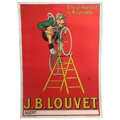 Original Vintage French Cycling and Bicycle Poster J.B. Louvet by Mich 1919