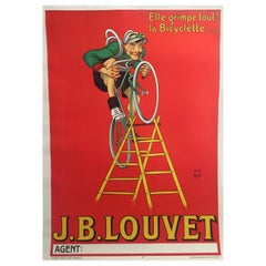 Original Vintage French Cycling and Bicycle Poster J.B. Louvet by Mich, 1919