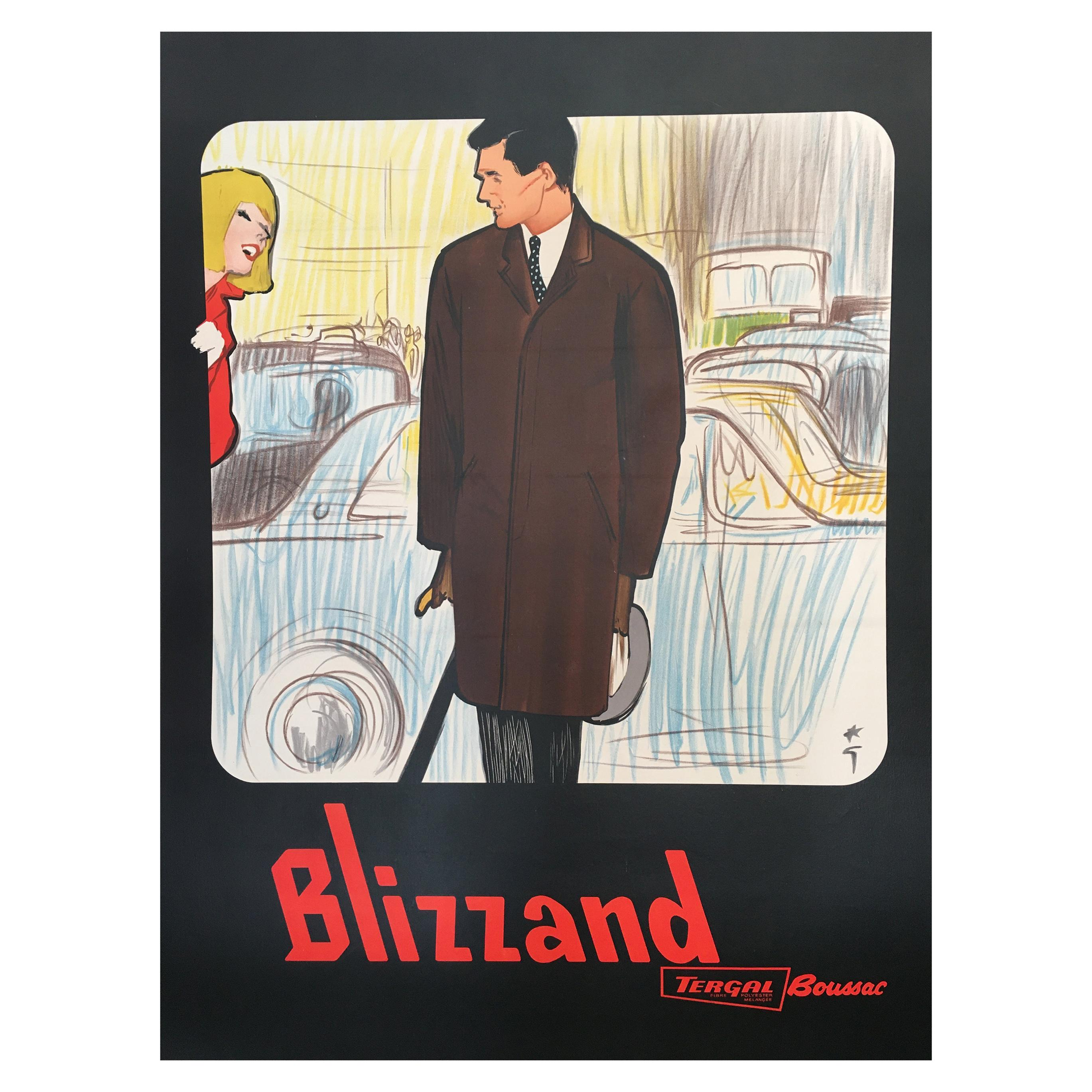 Original Vintage French Fashion Advertisement Poster 'Blizzand Man' by Gruau