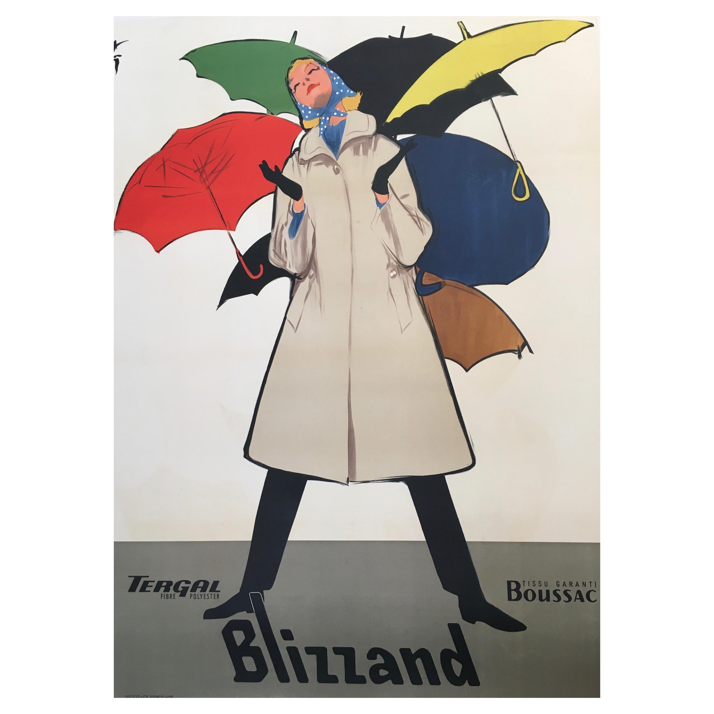 Original Vintage French Fashion Advertisement Poster Blizzand Umbrellas by Gruau