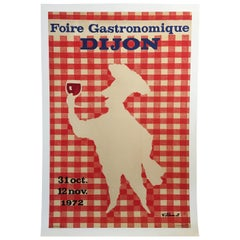 Original Vintage French Food Poster 'Foire Gastronomique De Dijon' by Villemot