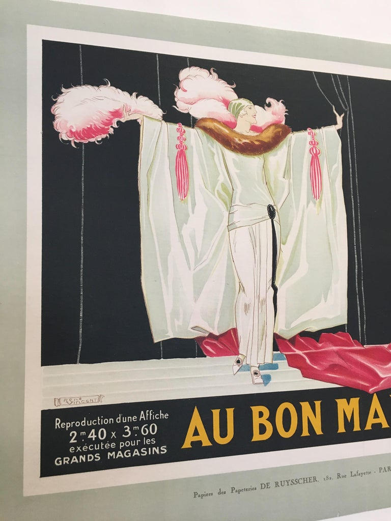 Original vintage French lithograph poster, 'Au Bon Marche' by Rene Vincent, 1920
