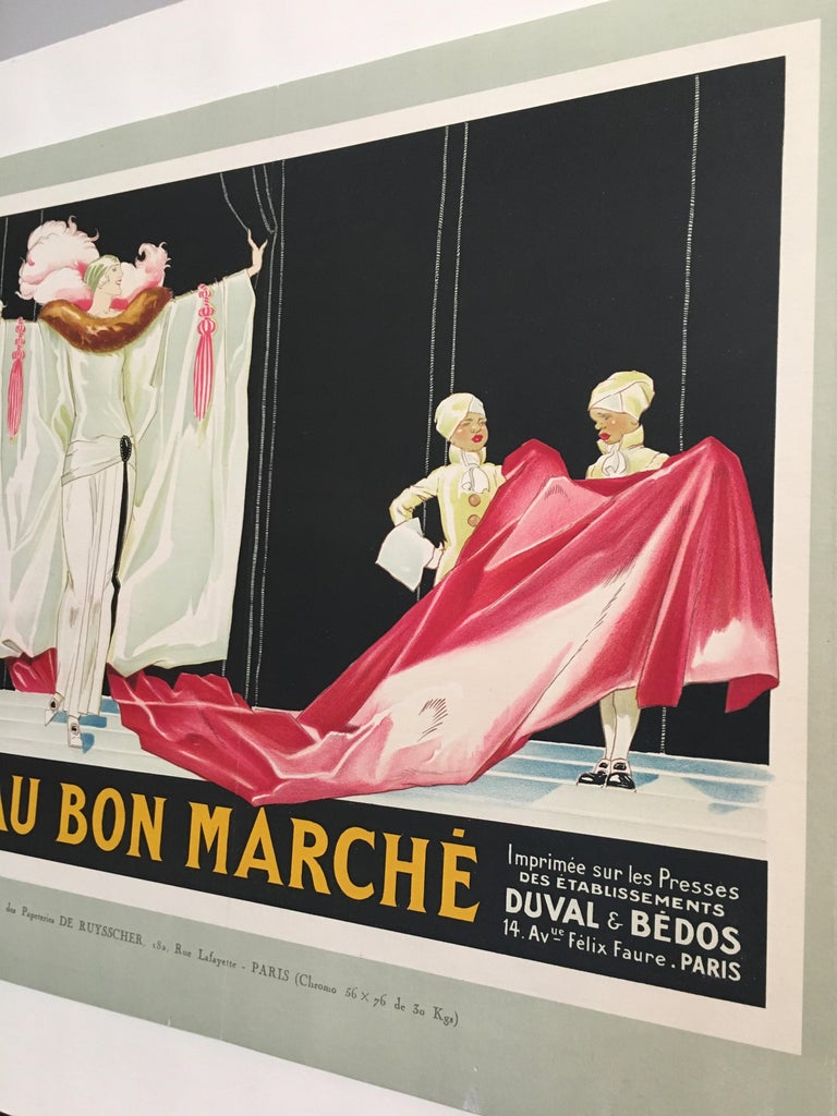 Art Deco Original Vintage French Lithograph Poster, 'Au Bon Marche' by Rene Vincent, 1920 For Sale
