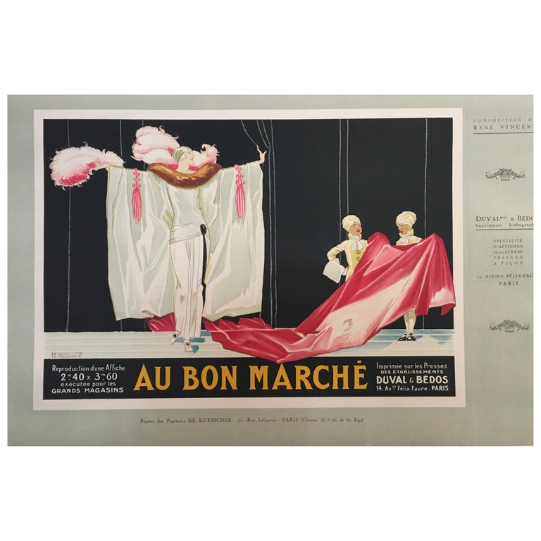 Original Vintage French Lithograph Poster, 'Au Bon Marche' by Rene Vincent, 1920 For Sale