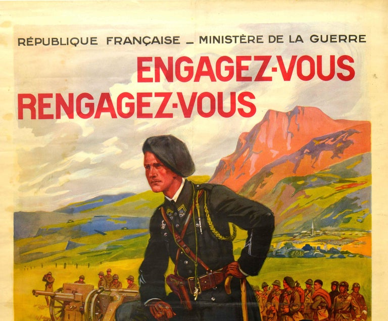 Original vintage French military recruitment poster - Join rejoin the Metropolitan Troops / Engagez-vous Rengagez-vous dans les Troupes Metropolitaines issued by the Republic of France Ministry of War featuring artwork by the French painter Maurice