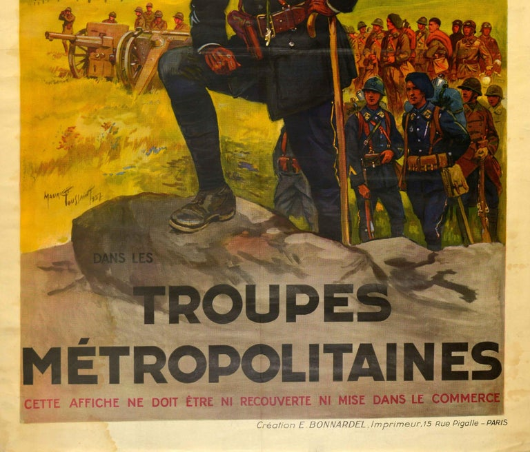 Original Vintage French Military Recruitment Poster Troupes Metropolitaines Army In Fair Condition For Sale In London, GB