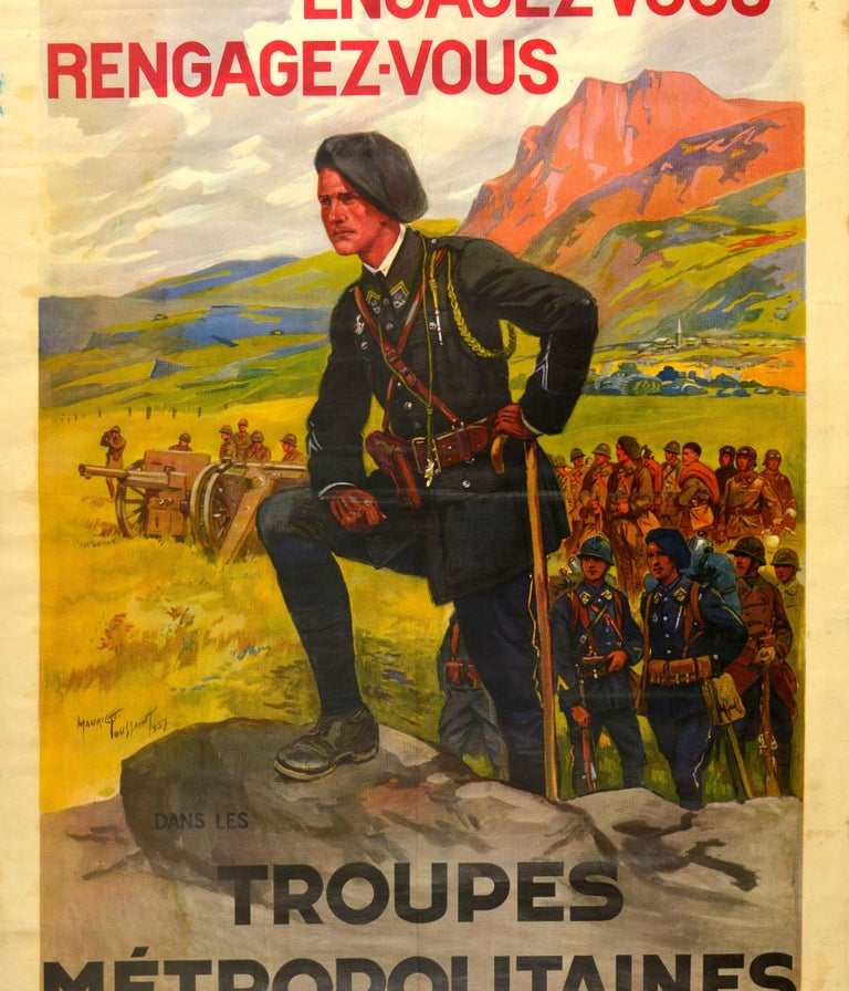 Mid-20th Century Original Vintage French Military Recruitment Poster Troupes Metropolitaines Army For Sale