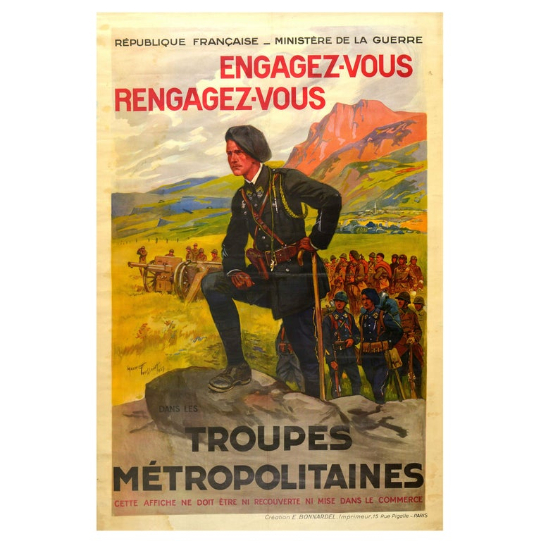 Original Vintage French Military Recruitment Poster Troupes Metropolitaines Army For Sale