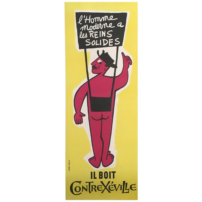 Original Vintage French Mineral Water Advertisement ContreXeville by Jean Colin