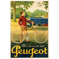 Original Vintage French Peugeot Bicycle Advertising Poster I Also Have a Peugeot