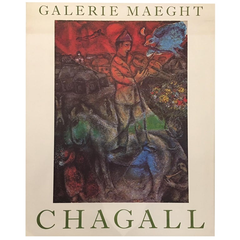 Original Vintage French Poster, Chagall Galerie Maeght, 1975 For Sale