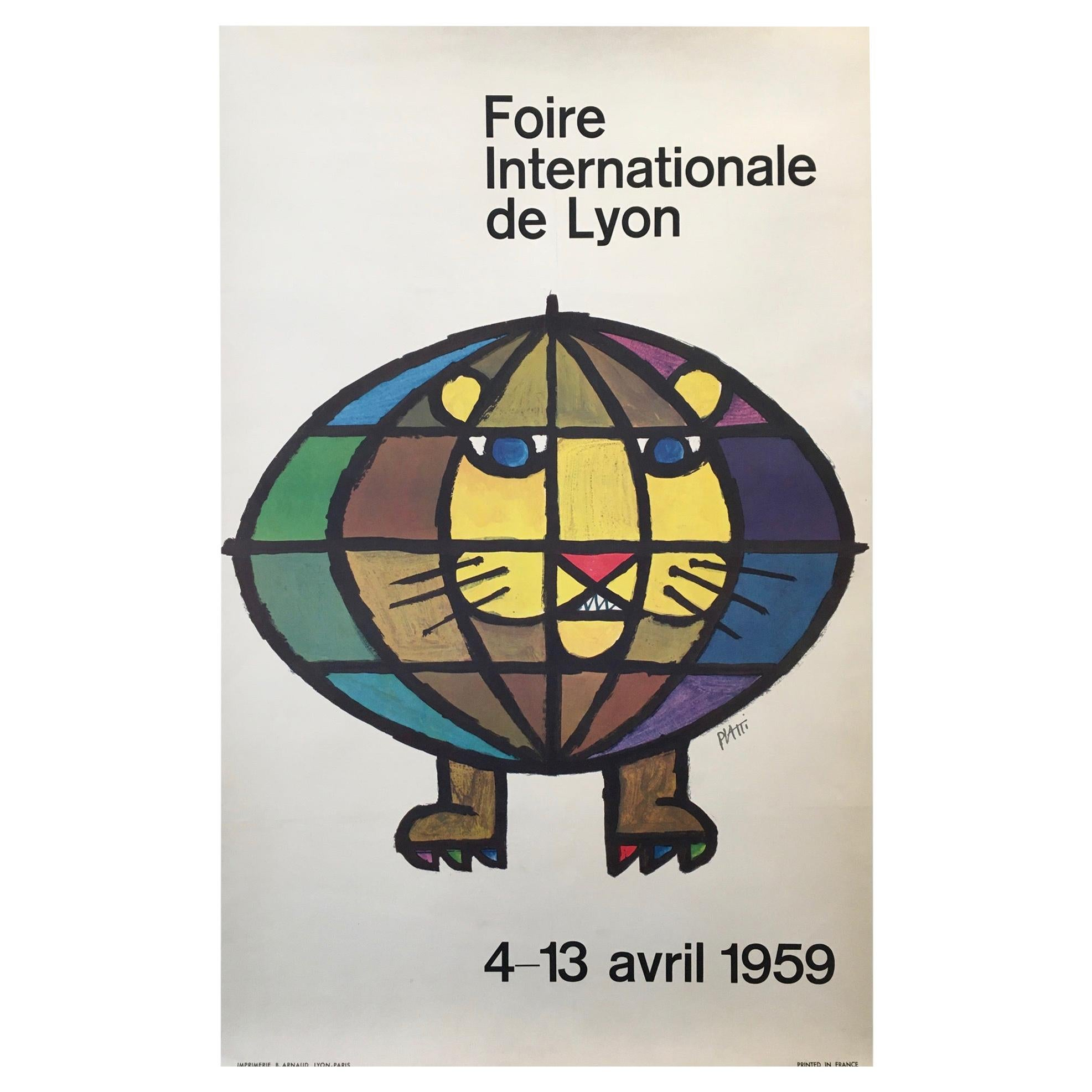 Original Vintage French Poster, 'Foire Internationale De Lyon' 1959 by Piatti