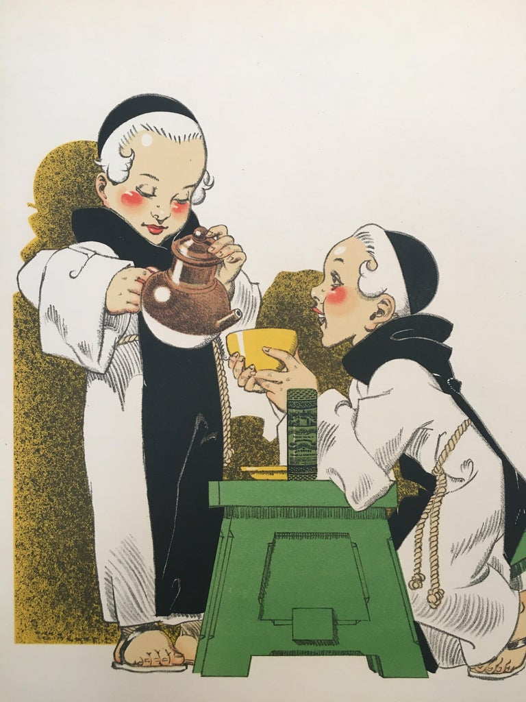 Original vintage French poster, 'Pas De Bon Cafe Sans Composition Des Moines' by Rene Vincent   A delightful poster, an illustration by Rene Vincent depicting the joy of two young monks, sharing a moment over a cup of warm coffee. Its artist, René
