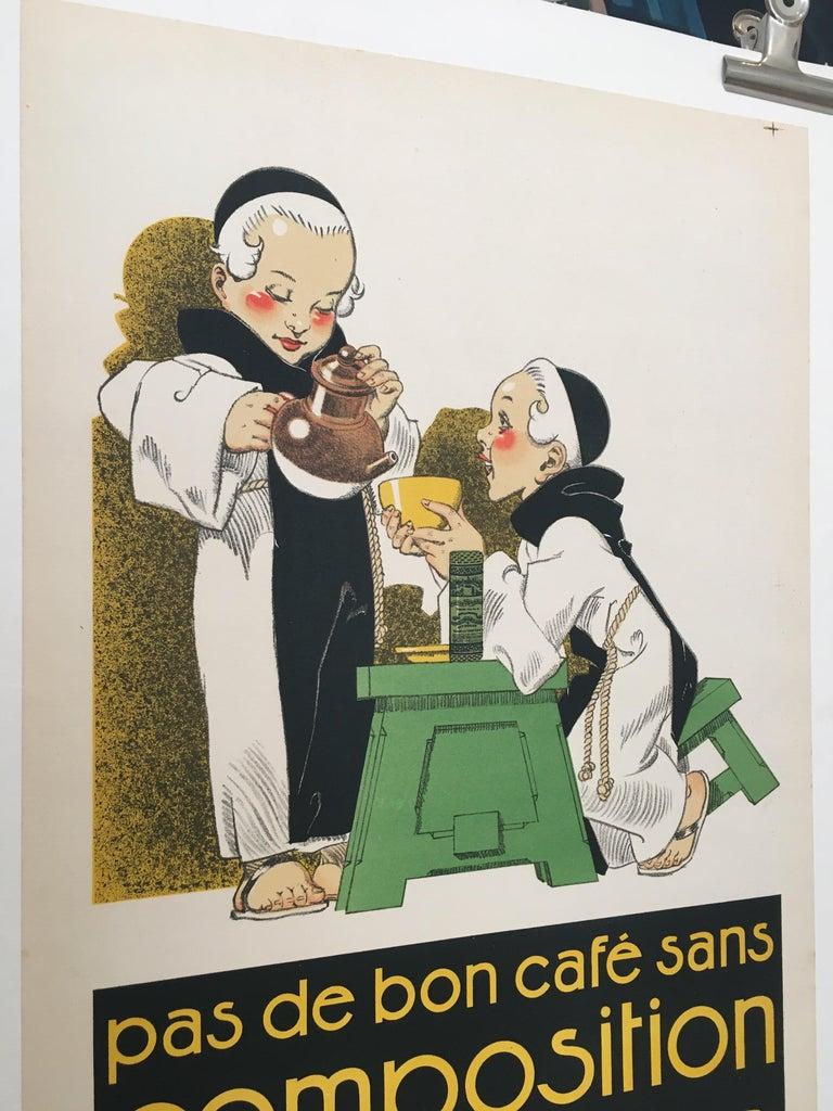 Art Deco Original Vintage French Poster, 'Pas De Bon Cafe Sans Composition Des Moines'  For Sale