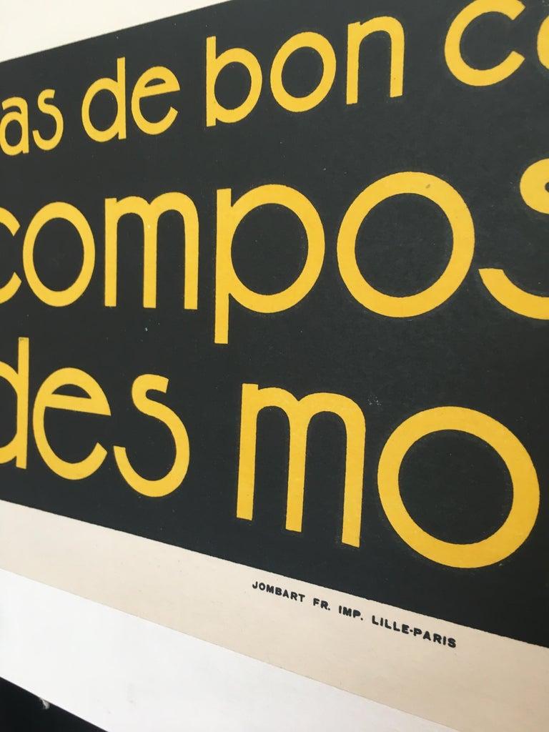 Early 20th Century Original Vintage French Poster, 'Pas De Bon Cafe Sans Composition Des Moines'  For Sale