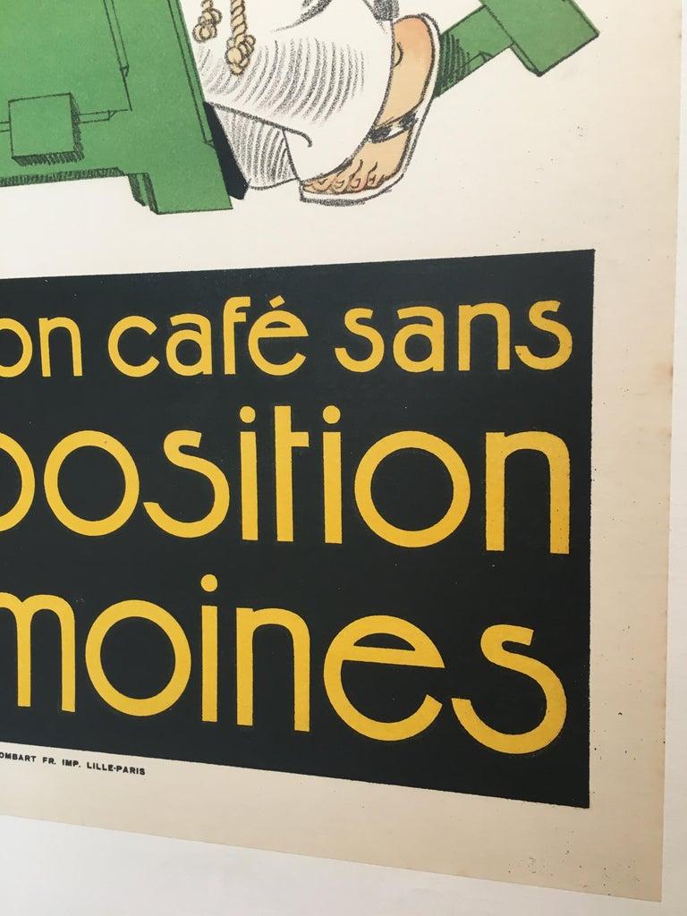 Paper Original Vintage French Poster, 'Pas De Bon Cafe Sans Composition Des Moines'  For Sale