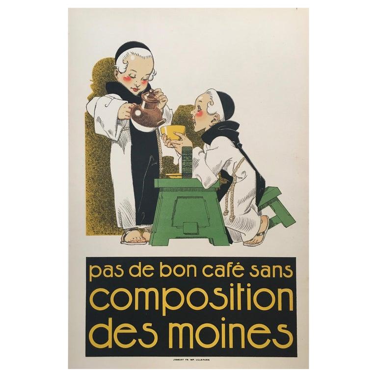 Original Vintage French Poster, 'Pas De Bon Cafe Sans Composition Des Moines'  For Sale