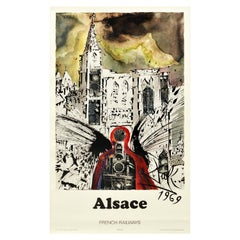 Original Vintage French Railway Poster Alsace By Dali For SNCF Abstract Design