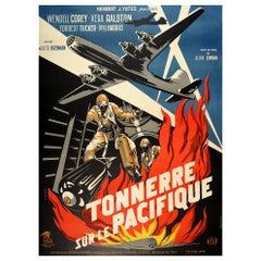 Original Vintage French Release Film Poster The Wild Blue Yonder WWII Bomber B29