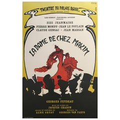 Original Vintage French Theatre and Cabaret Poster by René Gruau, 1966