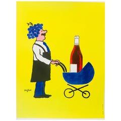Original Vintage French Wine Poster by Savignac 'Buvons Ici Le Vin Nouveau'