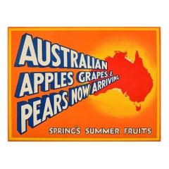 Original Vintage Fruit Poster Australia Apples Grapes Pears British Empire Trade