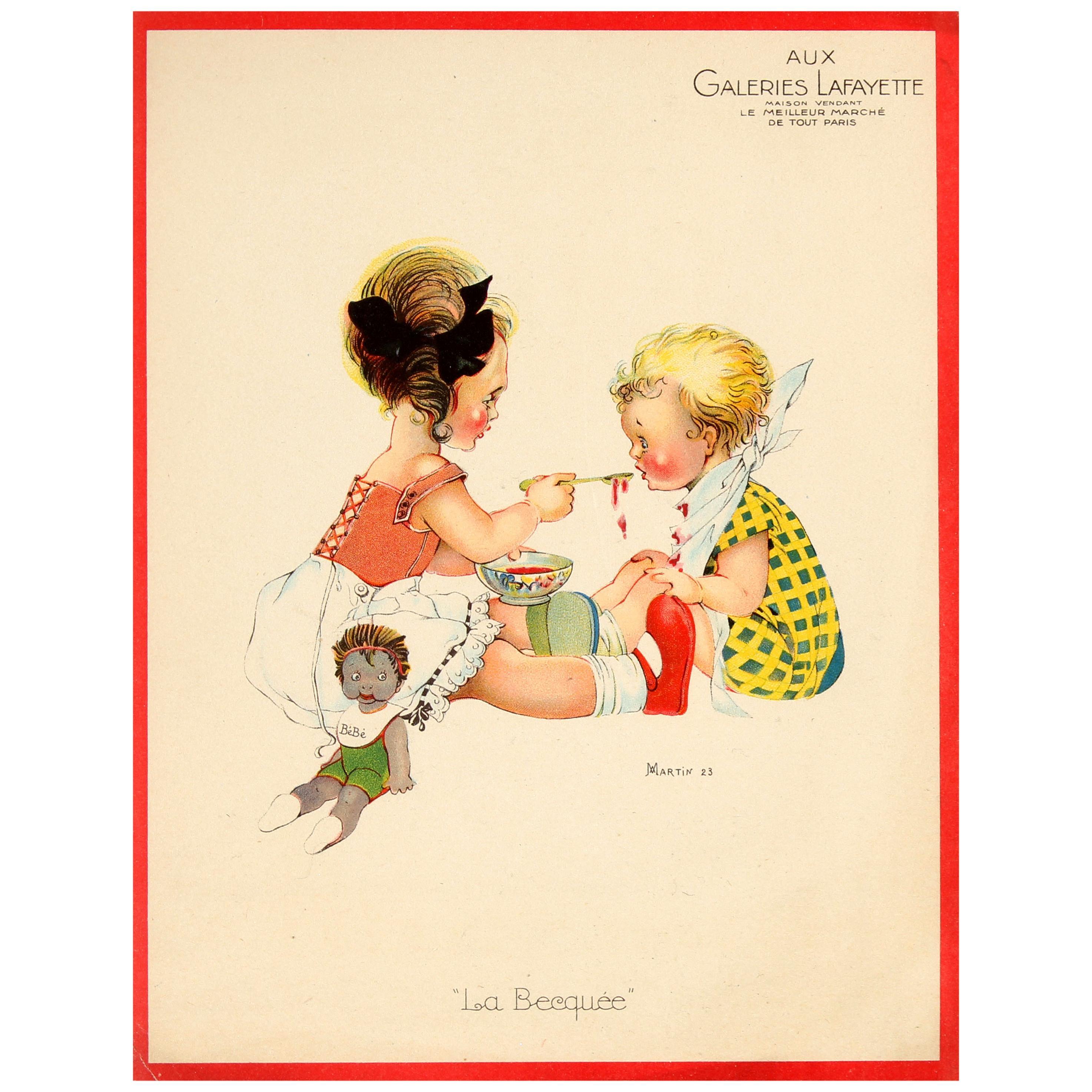Original Vintage Galeries Lafayette Poster Spoon Feeding Ft Children & Baby Doll
