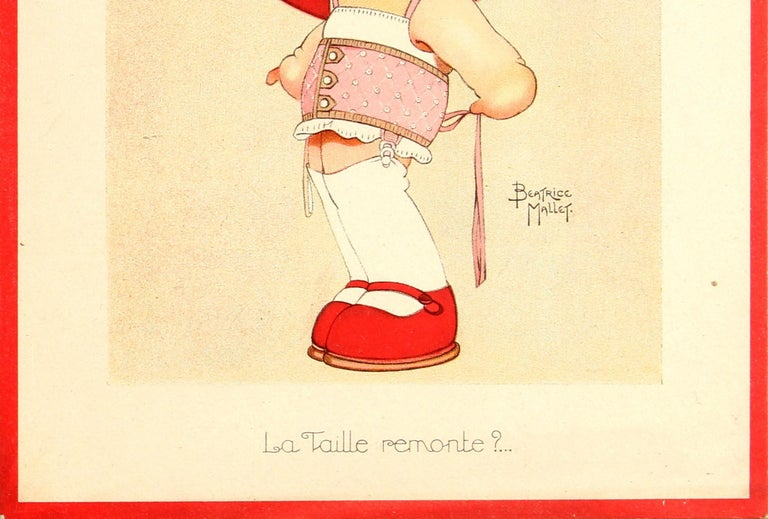 French Original Vintage Galeries Lafayette Poster The Size Goes Up? Ft. Girl And Corset For Sale