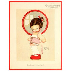 Original Vintage Galeries Lafayette Poster The Size Goes Up? Ft. Girl And Corset