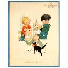 Original Vintage Galeries Lafayette Poster The Worldly Painter Ft Children & Cat