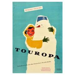 Original Vintage German Railway Poster Touropa Winter Holidays Travel Snowman