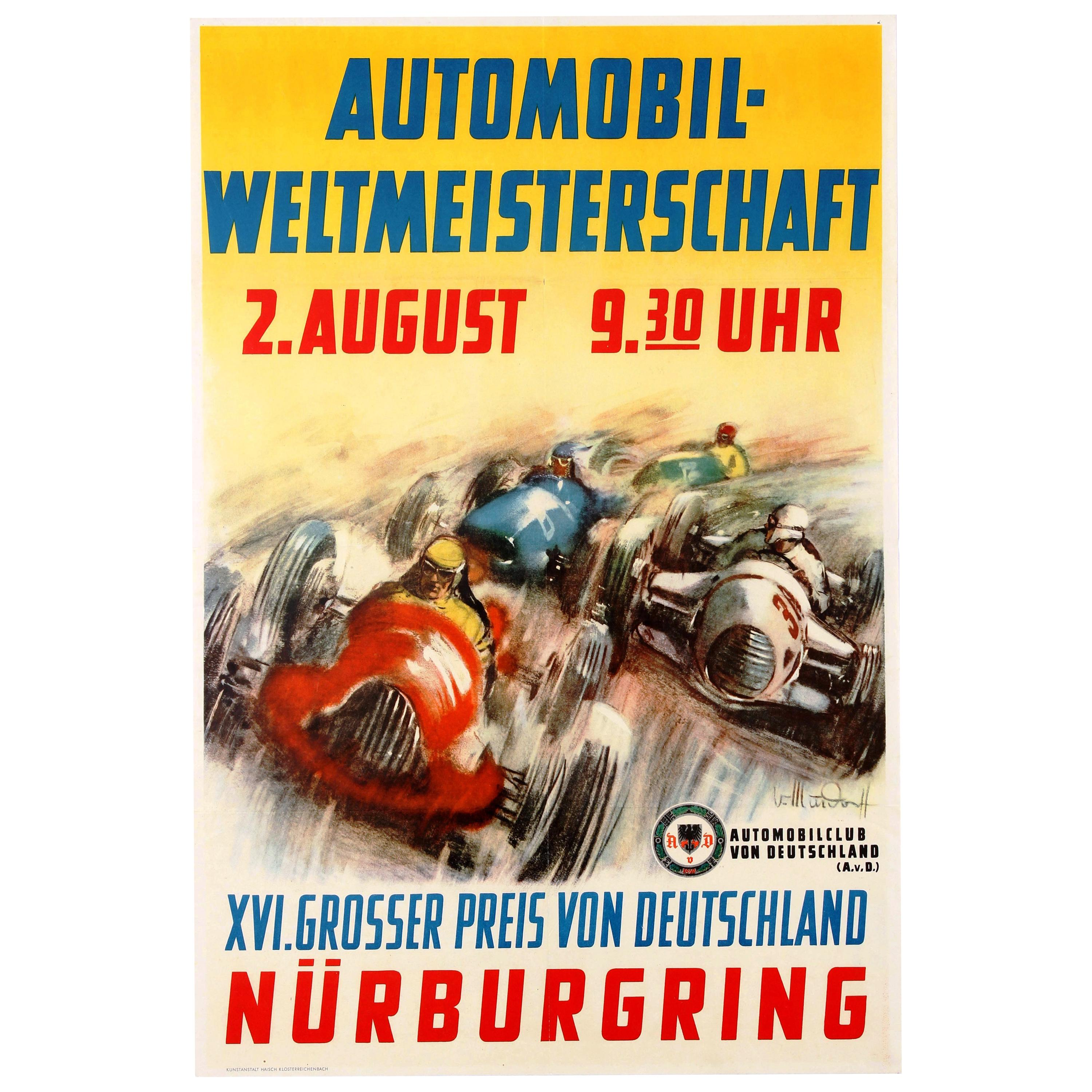 Reproduction 1955 Nurburgring Poster A2 A3 A4 Bike Racing Moto GP nordschleife