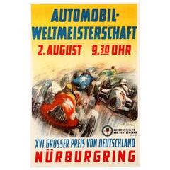 Original Vintage Grand Prix F1 Motor Sport Poster Weltmeisterschaft Nurburgring