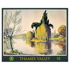 Original Vintage Great Western And Southern Railway Poster Thames Valley GWR SR