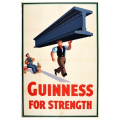 Original Vintage Guinness For Strength Poster by J Gilroy Irish Stout Beer Drink