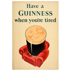 Original Vintage Guinness Poster Have a Guinness When You're Tired Relaxing Pint