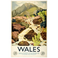 Original Vintage GWR Great Western Railway Poster Wales Scenic Countryside View